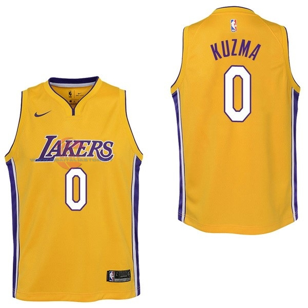 Acquista Maglia NBA Bambino Los Angeles Lakers NO.0 Kyle Kuzma Giallo Icon 2017-18