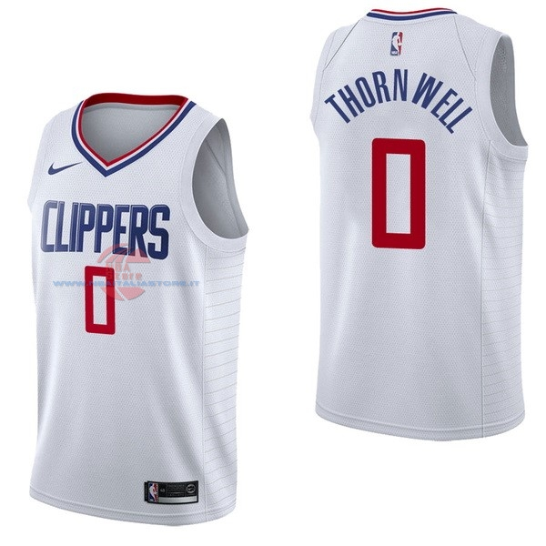Acquista Maglia NBA Nike Los Angeles Clippers NO.0 Sindarius Thornwell Bianco Association