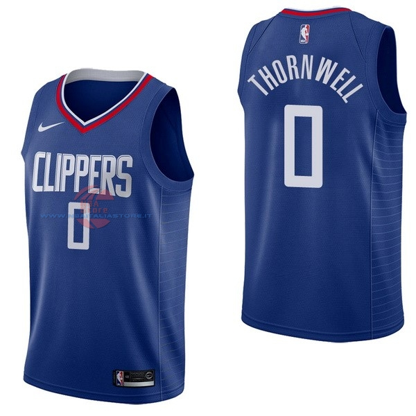 Acquista Maglia NBA Nike Los Angeles Clippers NO.0 Sindarius Thornwell Blu Icon