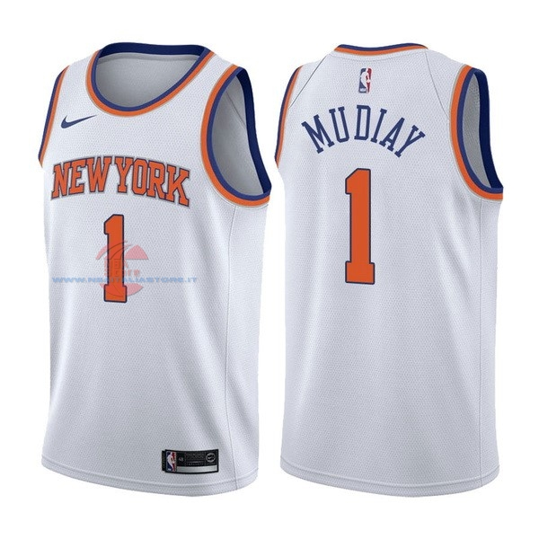 Acquista Maglia NBA Nike New York Knicks NO.1 Emmanuel Mudiay Bianco Association