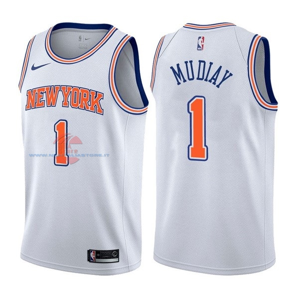 Acquista Maglia NBA Nike New York Knicks NO.1 Emmanuel Mudiay Bianco Statement
