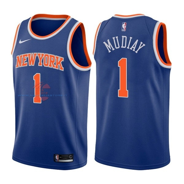 Acquista Maglia NBA Nike New York Knicks NO.1 Emmanuel Mudiay Blu Icon