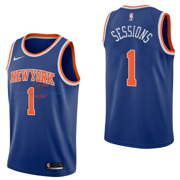 Acquista Maglia NBA Nike New York Knicks NO.1 Ramon Sessions Blu Icon