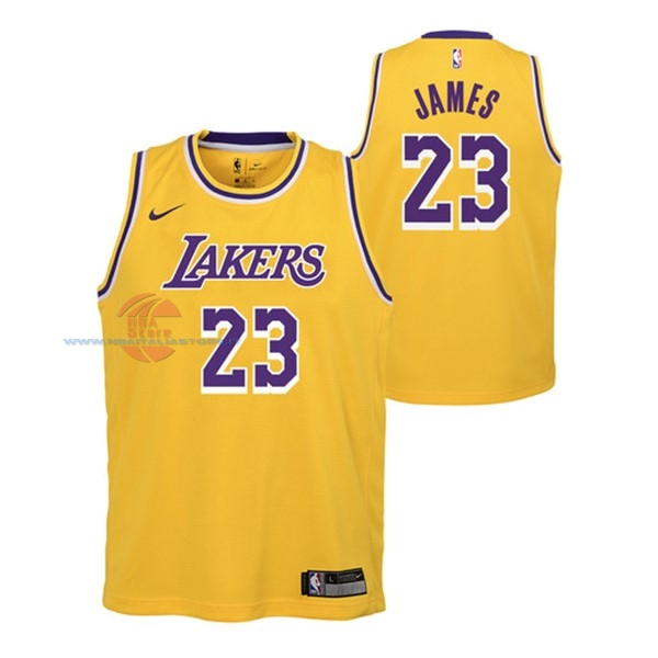 Acquista Maglia NBA Bambino Los Angeles Lakers NO.23 Lebron James Giallo Icon 2018-19
