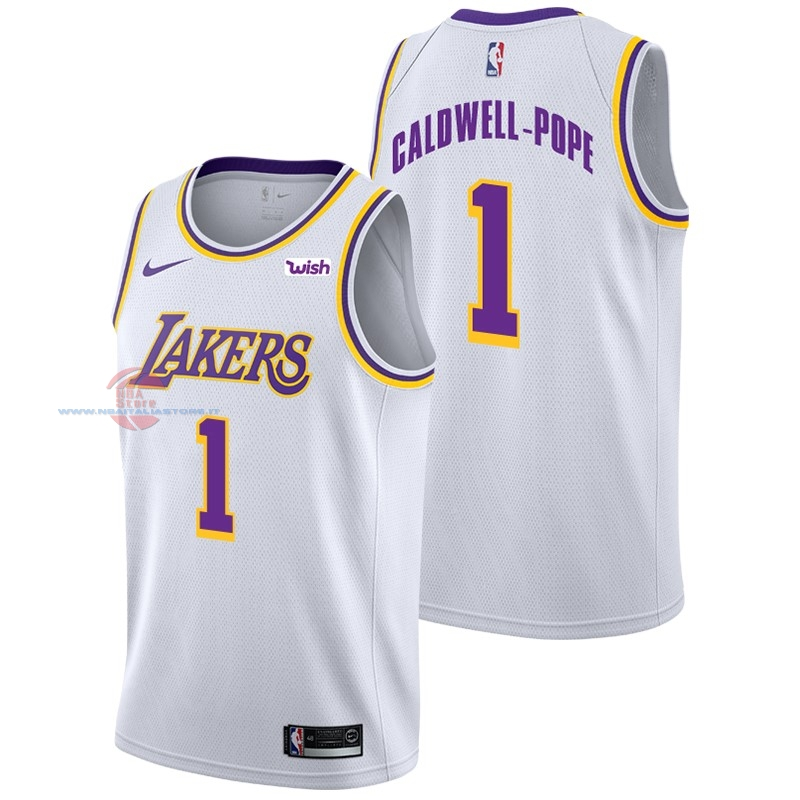 Acquista Maglia NBA Nike Los Angeles Lakers NO.1 Kentavious Caldwell Pope Bianco 2018-19