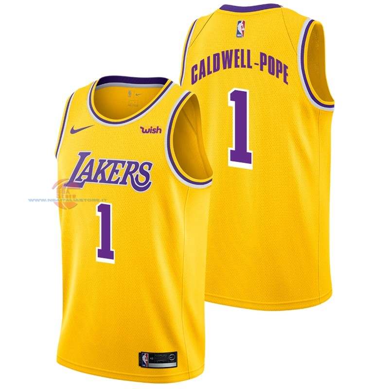 Acquista Maglia NBA Nike Los Angeles Lakers NO.1 Kentavious Caldwell Pope Giallo 2018-19