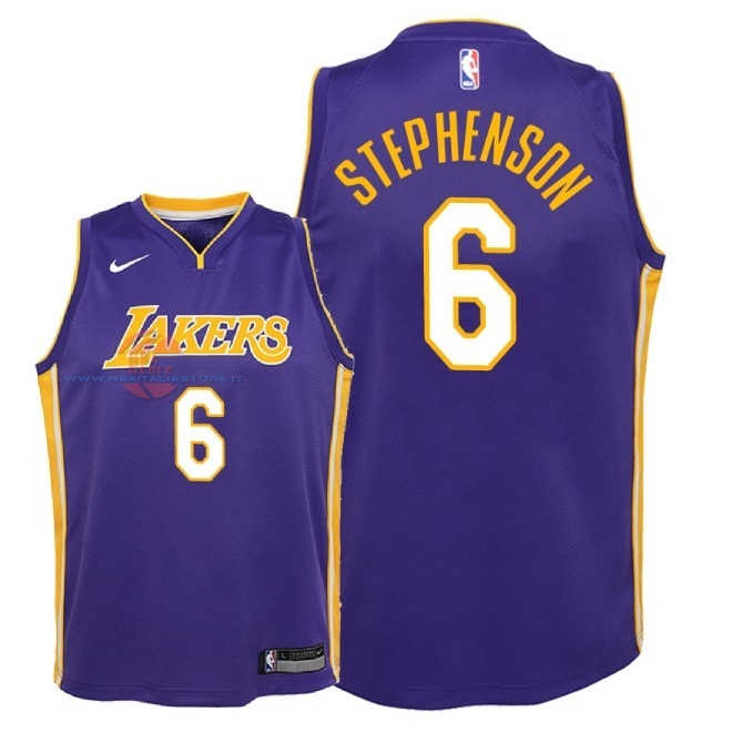 Acquista Maglia NBA Bambino L.A.Lakers NO.6 Lance Stephenson Porpora Statement 2018