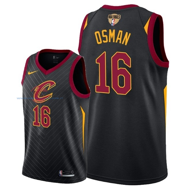 Acquista Maglia NBA Cleveland Cavaliers 2018 Campionato Finali NO.16 Cedi Osman Nero Statement Patch