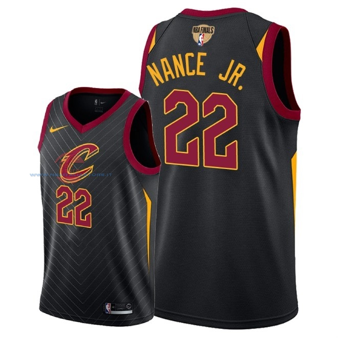 Acquista Maglia NBA Cleveland Cavaliers 2018 Campionato Finali NO.22 Larry Nance Jr Nero Statement Patch