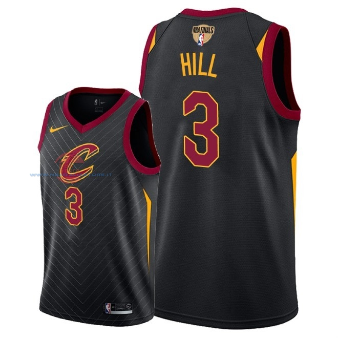 Acquista Maglia NBA Cleveland Cavaliers 2018 Campionato Finali NO.3 George Hill Nero Statement Patch