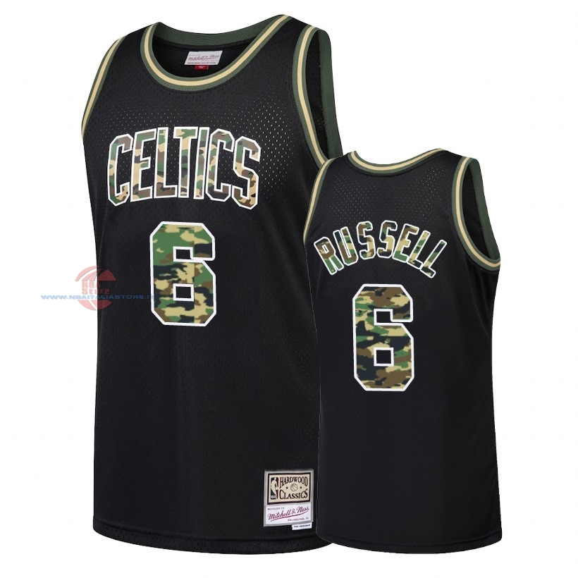 Acquista Maglia NBA Dritto Fire Camo Boston Celtics NO.6 Bill Russell Nero 2018