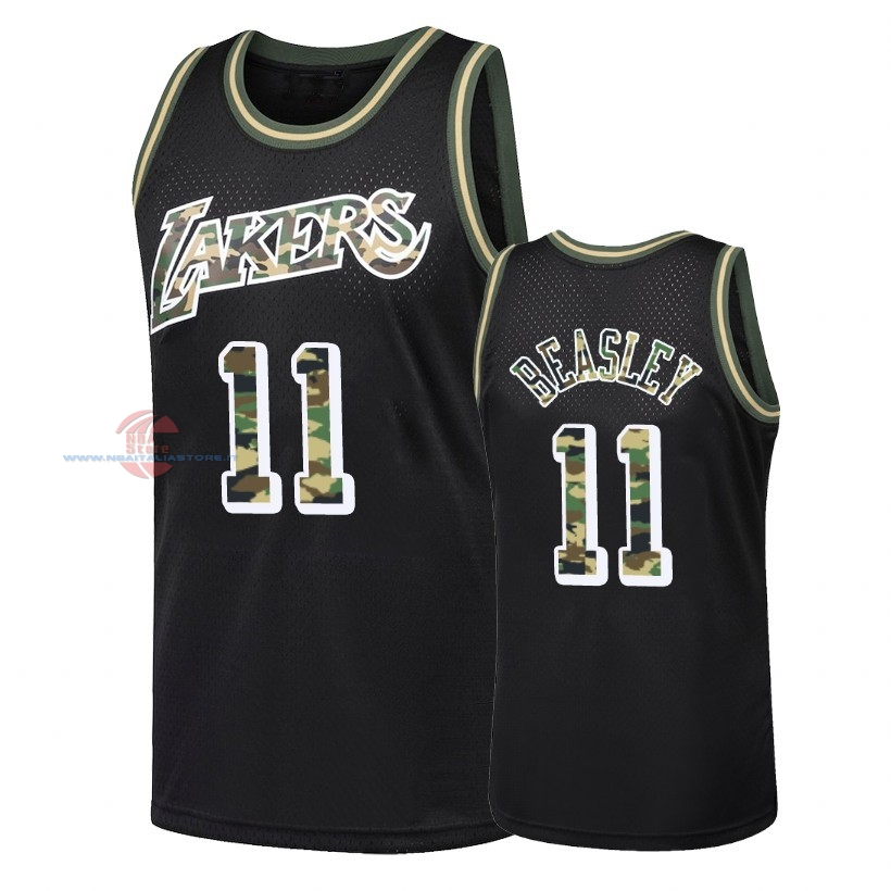 Acquista Maglia NBA Dritto Fire Camo Los Angeles Lakers NO.11 Michael Beasley Nero 2018