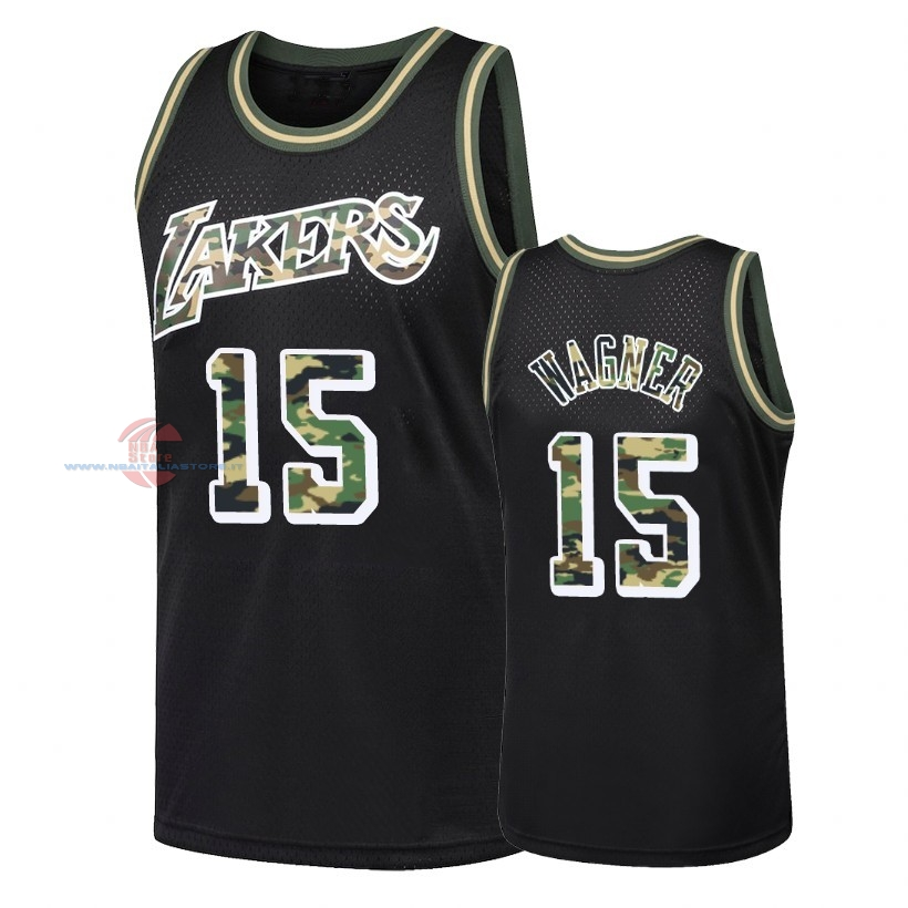 Acquista Maglia NBA Dritto Fire Camo Los Angeles Lakers NO.15 Moritz Wagner Nero 2018