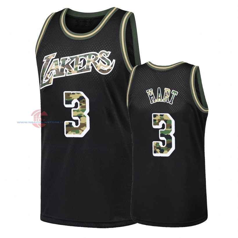 Acquista Maglia NBA Dritto Fire Camo Los Angeles Lakers NO.3 Josh Hart Nero 2018