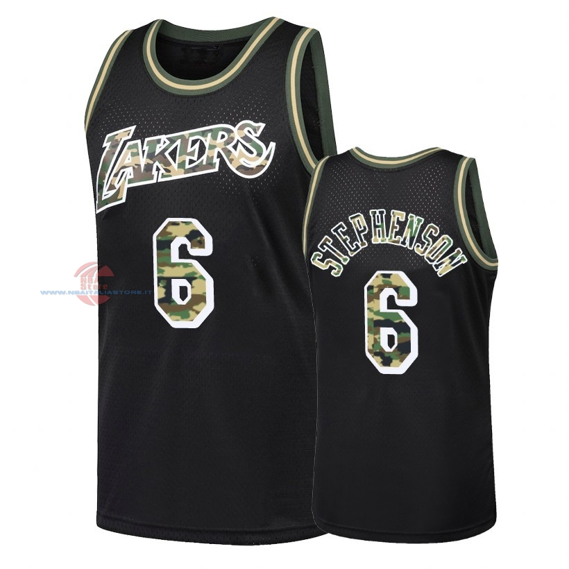 Acquista Maglia NBA Dritto Fire Camo Los Angeles Lakers NO.6 Lance Stephenson Nero 2018