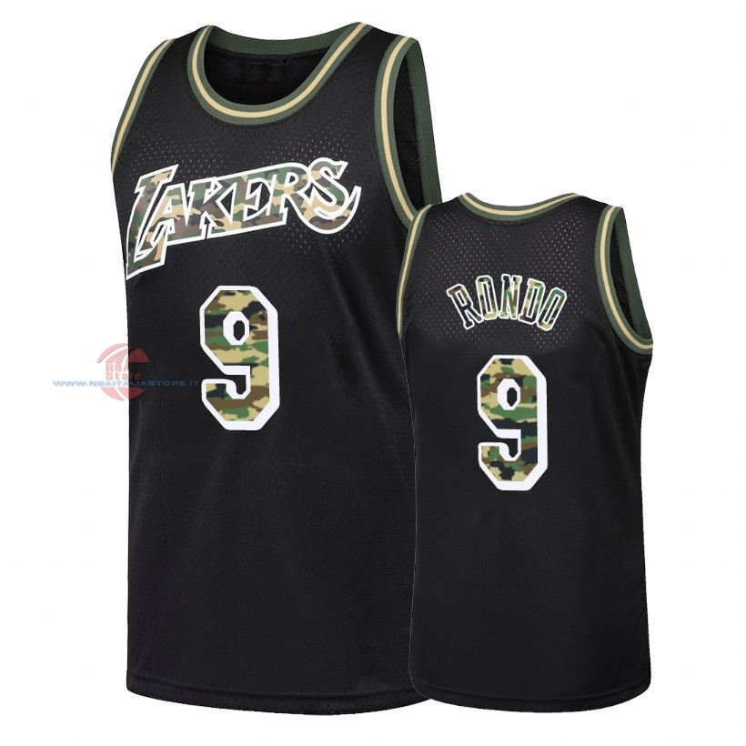 Acquista Maglia NBA Dritto Fire Camo Los Angeles Lakers NO.9 Rajon Rondo Nero 2018