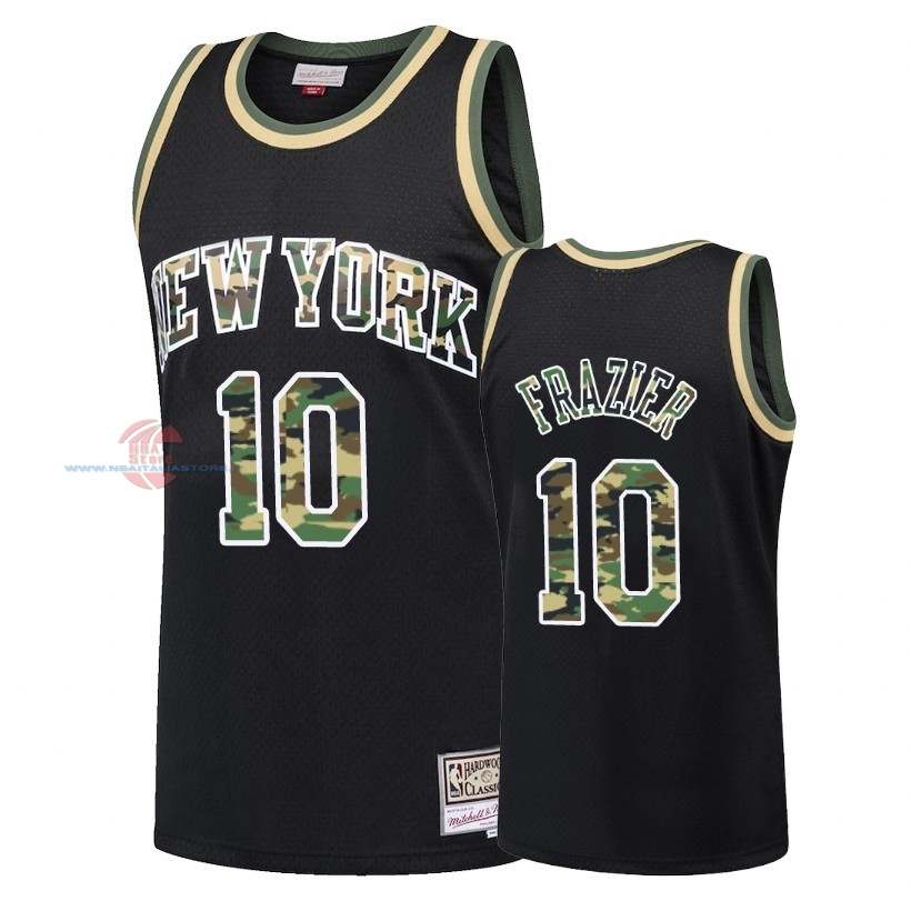 Acquista Maglia NBA Dritto Fire Camo New York Knicks NO.10 Walt Frazier Nero 2018