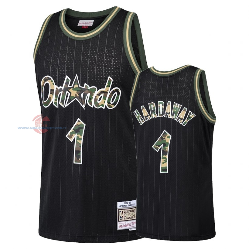 Acquista Maglia NBA Dritto Fire Camo Orlando Magic NO.1 Penny Hardaway Nero 2018