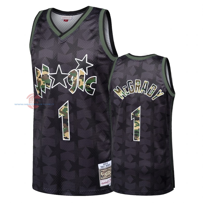 Acquista Maglia NBA Dritto Fire Camo Orlando Magic NO.1 Tracy McGrady Nero 2018