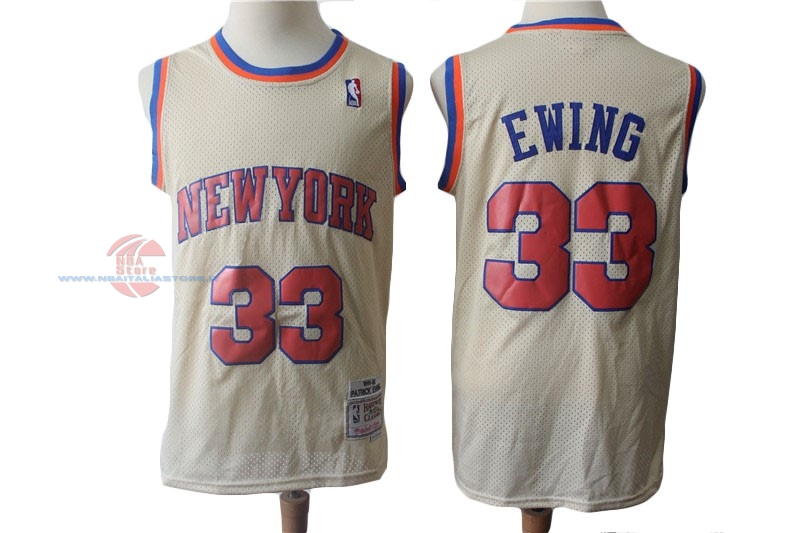 Acquista Maglia NBA New York Knicks NO.33 Patrick Ewing Retro Crema 1991-92