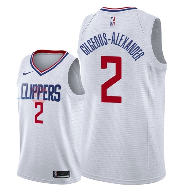 Acquista Maglia NBA Nike Los Angeles Clippers NO.2 Shai Gilgeous Alexander Bianco Association 2018