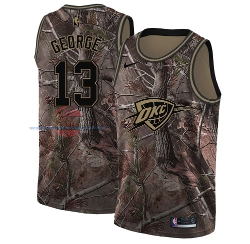 Acquista Maglia NBA Oklahoma City Thunder NO.13 Paul George Camo Swingman Collezione Realtree 2018