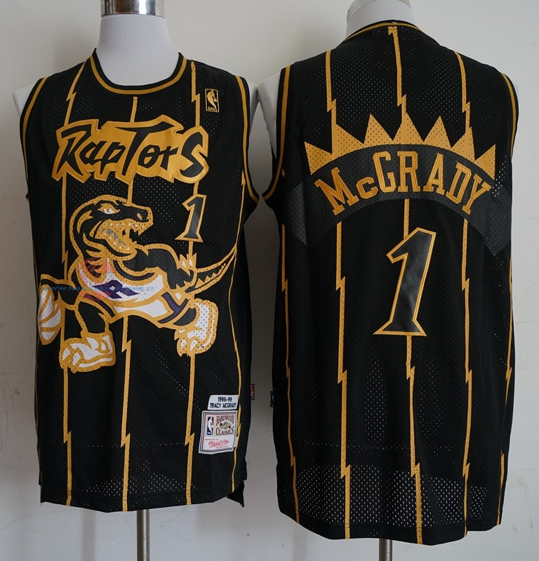 Acquista Maglia NBA Toronto Raptors NO.1 Tracy McGrady Retro Oro Nero 1998-99