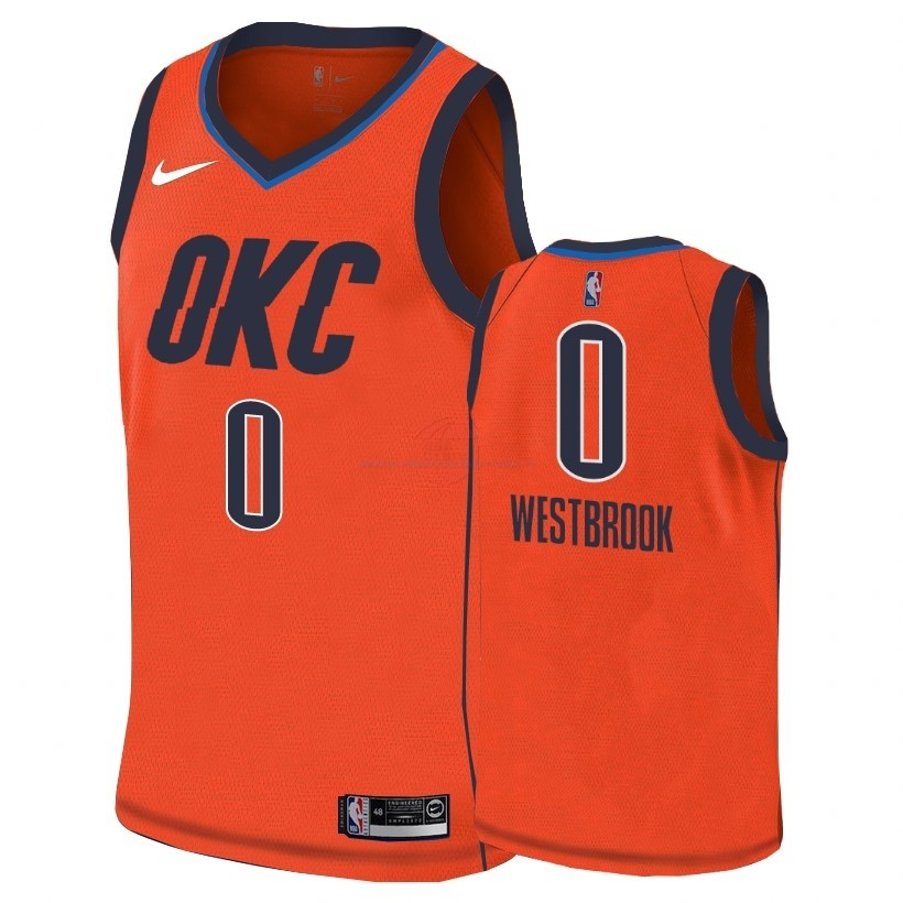 Acquista Maglia NBA Earned Edition Oklahoma City Thunder NO.0 Russell Westbrook Arancia 2018-19