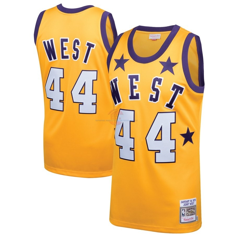 Acquista Maglia NBA All Star 1972 NO.44 Jerry West Giallo