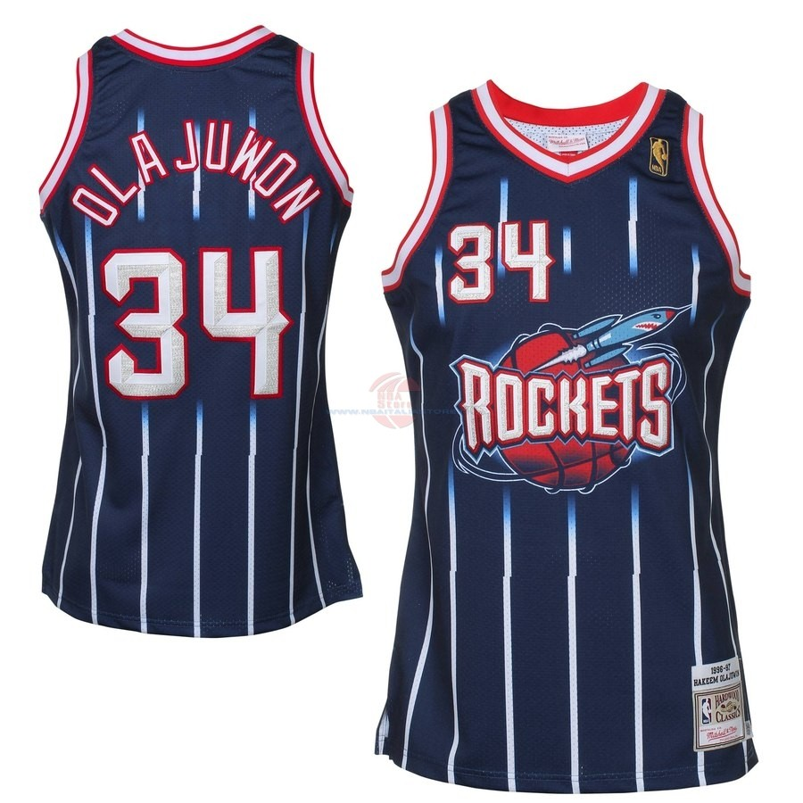 Acquista Maglia NBA All Star 1996-97 NO.34 Hakeem Olajuwon Blu