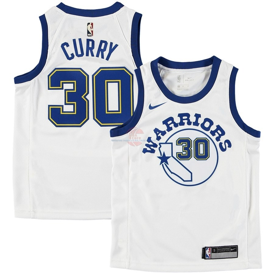 Acquista Maglia NBA Bambini Golden State Warriors NO.30 Stephen Curry Bianco Hardwood Classics