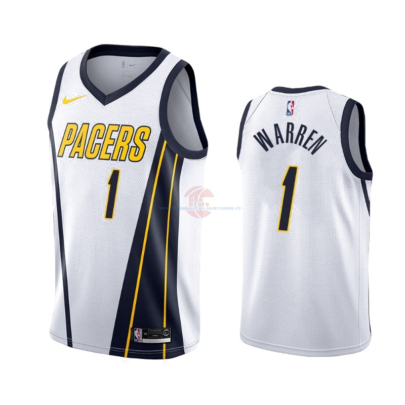 Acquista Maglia NBA Earned Edition Indiana Pacers NO.26 T.J. Warren Gray Bianco 2019-20
