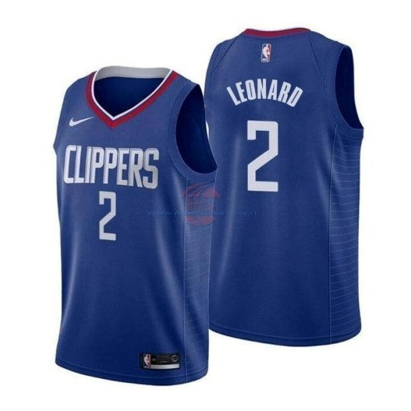 Acquista Maglia NBA Nike Los Angeles Clippers NO.2 Kawhi Leonard Blu Icon 2019-20