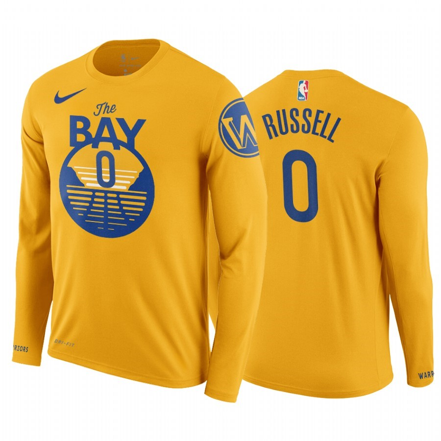 T-Shirt Golden State Warriors D'Angelo Russell Manga Larga Jaune A Poco Prezzo