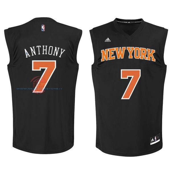 Acquista Maglia NBA New York Knicks NO.7 Carmelo Anthony Nero Arancia