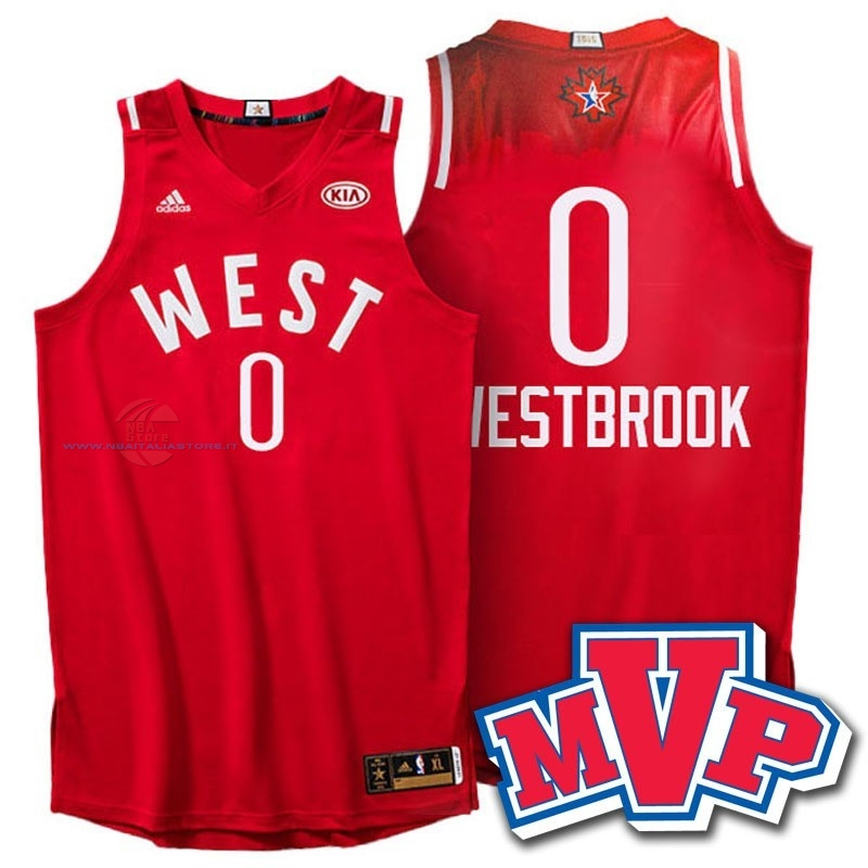 Acquista Maglia NBA 2016 All Star NO.0 Russell Westbrook Rosso
