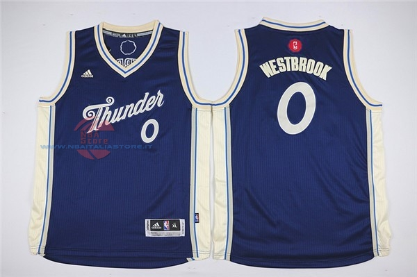 Acquista Maglia NBA Bambino 2015 Natale Oklahoma City Thunder NO.0 Russell Westbrook Blu