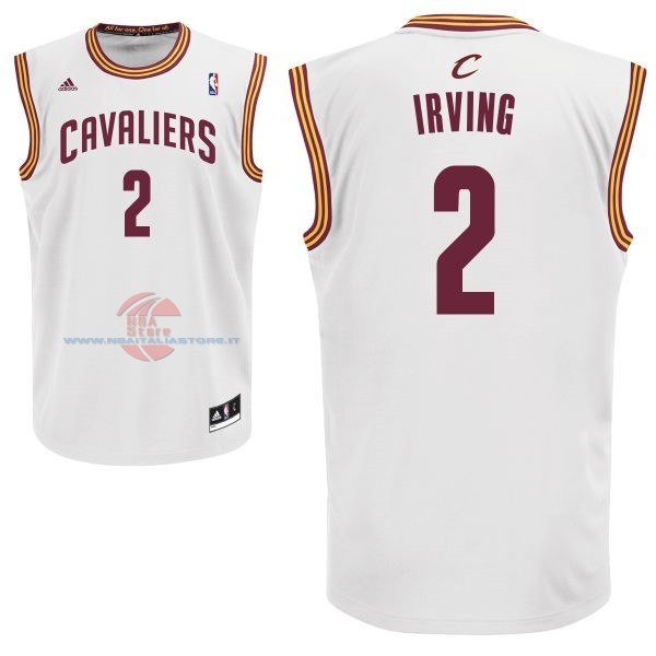 Acquista Maglia NBA Cleveland Cavaliers NO.2 Kyrie Irving Bianco
