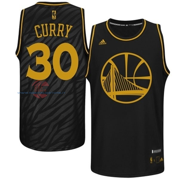 Acquista Maglia NBA Golden State Warriors Moda Metalli Preziosi NO.30 Curry Nero