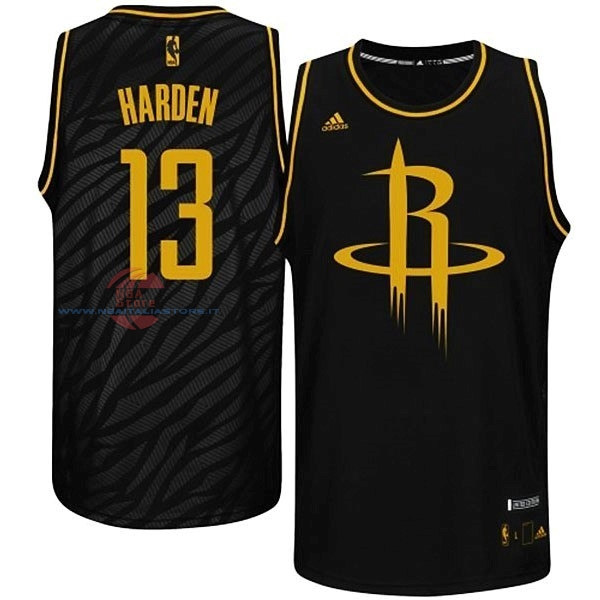 Acquista Maglia NBA Houston Rockets Moda Metalli Preziosi NO.13 Harden Nero