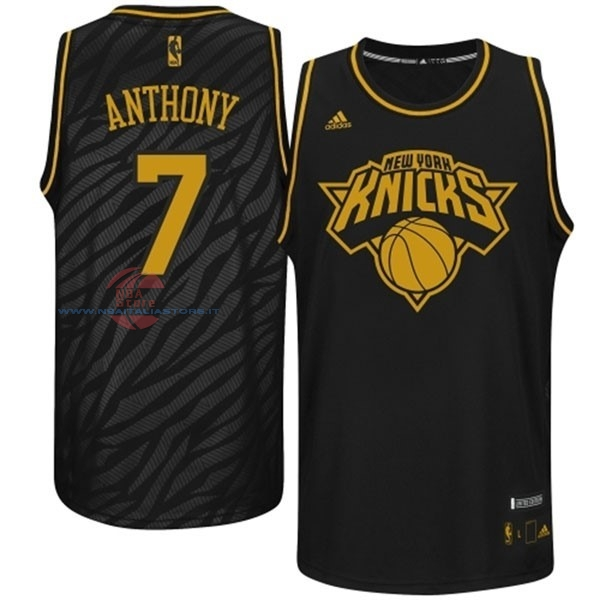 Acquista Maglia NBA New York Knicks Moda Metalli Preziosi NO.7 Anthony Nero