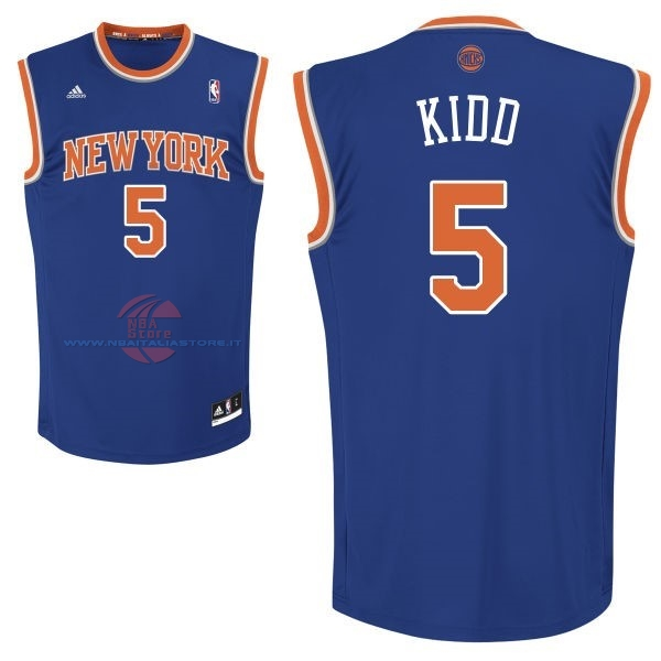 Acquista Maglia NBA New York Knicks NO.5 Jason Kidd Blu