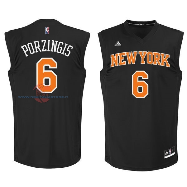 Acquista Maglia NBA New York Knicks NO.6 Kristaps Porzingis Nero