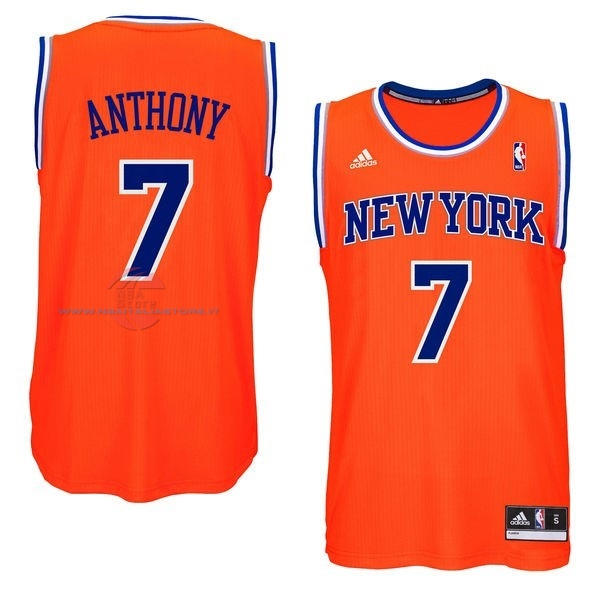 Acquista Maglia NBA New York Knicks NO.7 Carmelo Anthony Arancia Blu