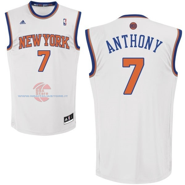 Acquista Maglia NBA New York Knicks NO.7 Carmelo Anthony Bianco