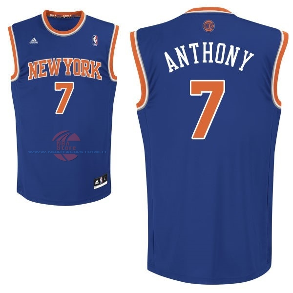 Acquista Maglia NBA New York Knicks NO.7 Carmelo Anthony Blu