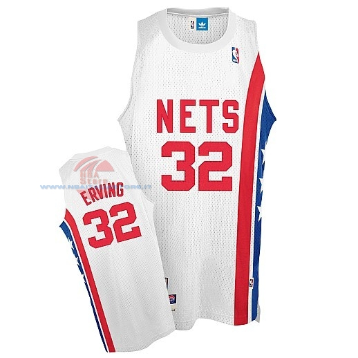 Acquista Maillo ABA Brooklyn Nets NO.32 Erving Bianco
