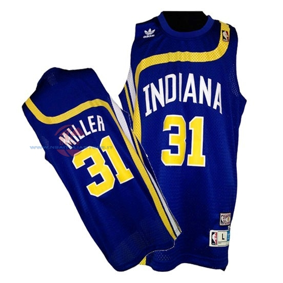 Acquista Maillo ABA Indiana Pacers NO.31 Miller Blu